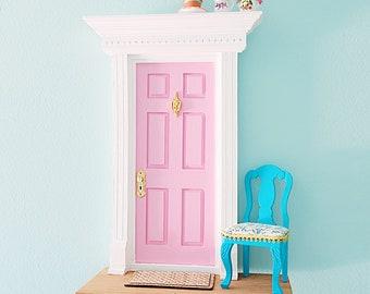 Pink Fairy Door with flowers, OOAK Fairy Door, Handmade Fairy Door with love, Women gift unique, Fairy gift, Fairy lovers gift
