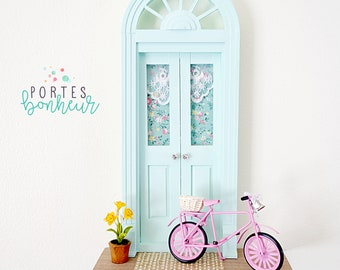 Mint Fairy Door, Mint and Pink Fairy Door with bike, Romantic OOAK Fairy Door, Spring Fairy