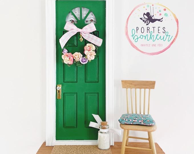 OOAK Green Fairy Door with wreath, handmade green seasonal fairy door, fun ooak green fairy door