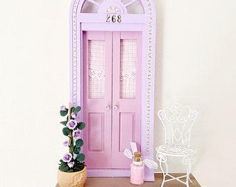 Lilac Fairy Door, Lilac and Pink Fairy Door with climbing roses, Romantic OOAK Fairy Door, Spring Fairy