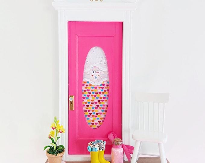 Bright Pink Fairy Door, Adorable Fairy door, Fun Colorful Fairy Door, Pink Fairy Dust