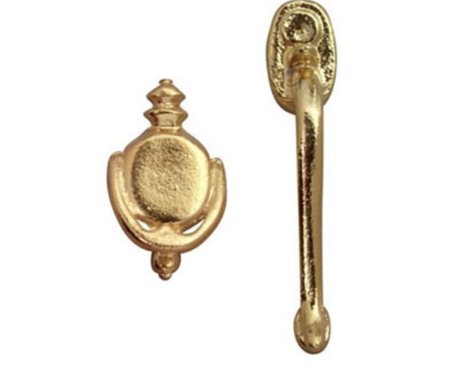 Long door handle with decorative knocker GOLD