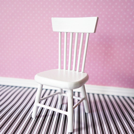 Straight back white chair
