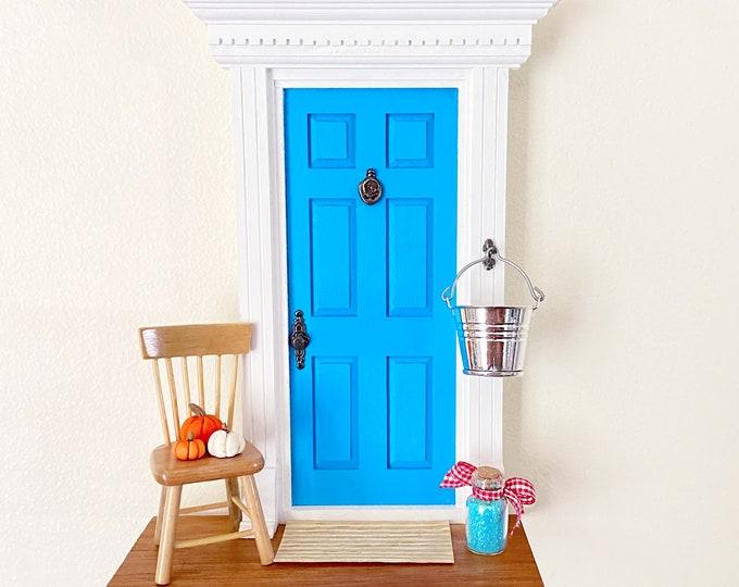 Bright Blue Fairy Door, OOAK Fairy Door, Fairy Doors of Ann Arbor, Magic Fairy Door