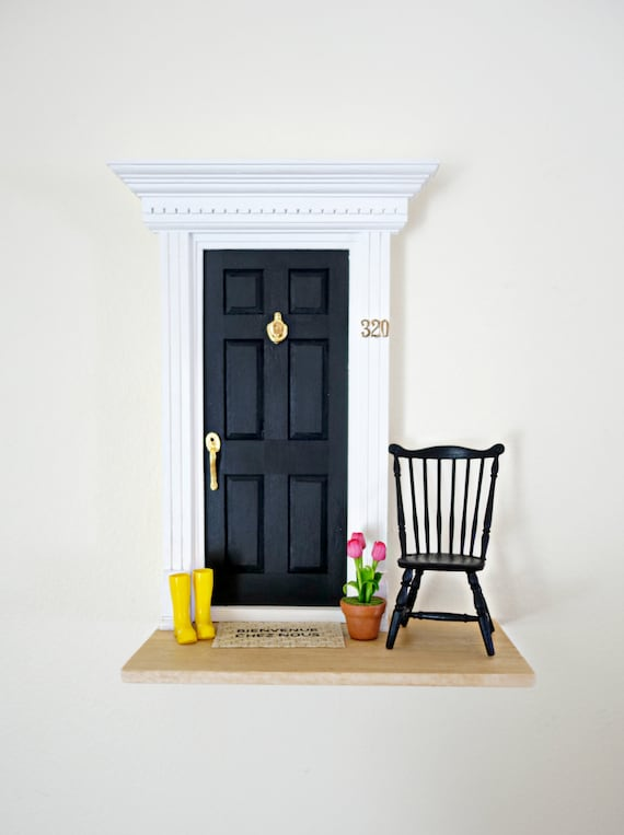 Black Fairy Door, OOAK Fairy Door, Fairy Doors of Ann Arbor, Magic Fairy Door
