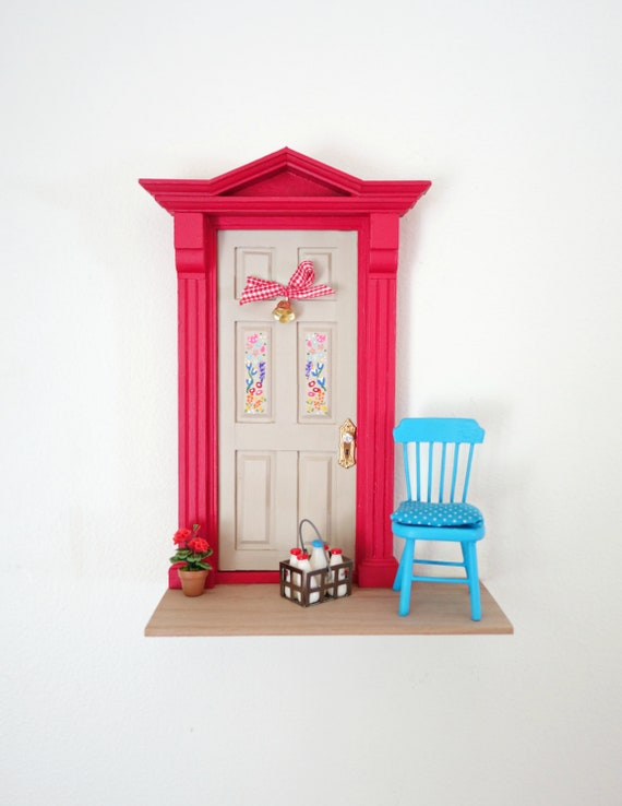 Red and blue Fairy Door, Colorful Fairy Door, Fun OOAK Fairy Door, Handmade Fairy Door, Portes Bonheur