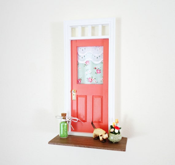 Coral Fairy Door, OOAK Fairy Door with miniature siamese cat, unique handmade fairy door, coral pink
