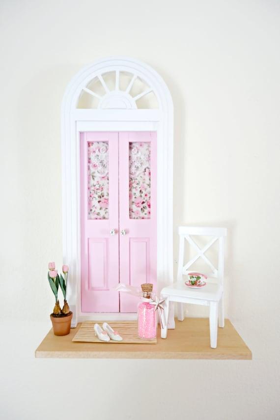 Light Pink Fairy Door, Pink Fairy Door with tulips, Romantic OOAK Fairy Door