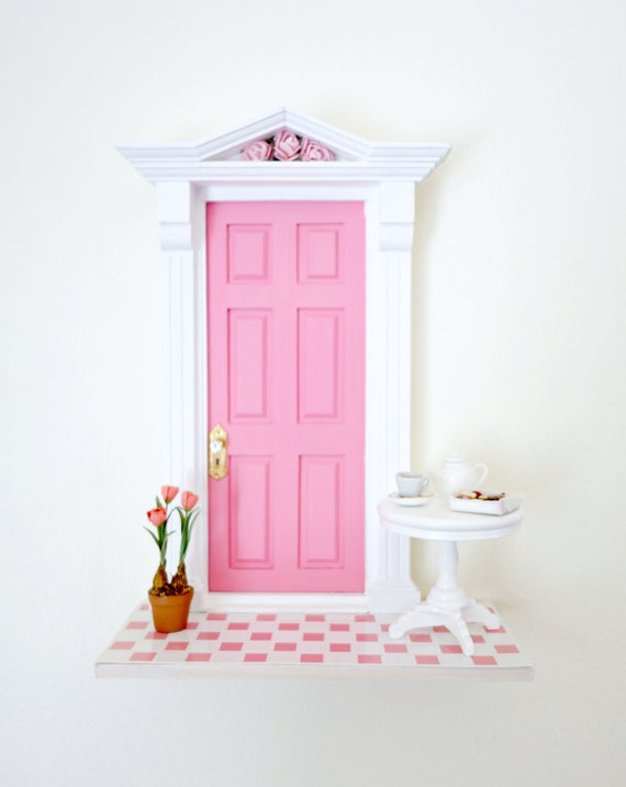 Unique handmade fairy door, Pink Fairy Door, Fun pink Fairy Door, Retro Fairy Door, Pink