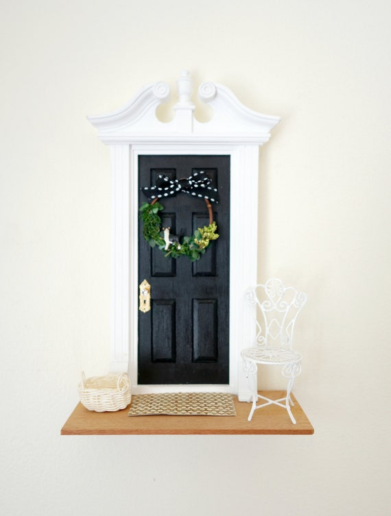 OOAK Black Fairy Door for cat lovers, Black and White Fairy Door, Black and White cat, Fairy cat, Fairy door with cat