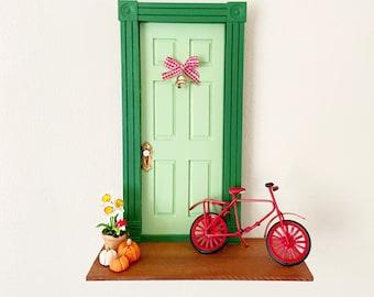 Fairy Door with Bike, Green Fairy Door, Daffodil, Red Bike, Whimsical fairy door