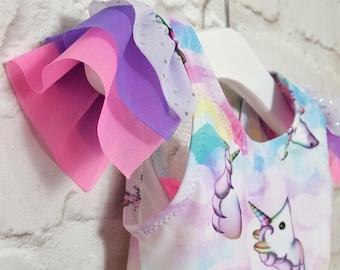 Ruffle Swimsuit, Unicorn Party Outfit, Cute Swimwear, Unicorn Swimsuit, Bathing Suit For Girls, Girls Swimwear or Dancewear, Girls Clothing