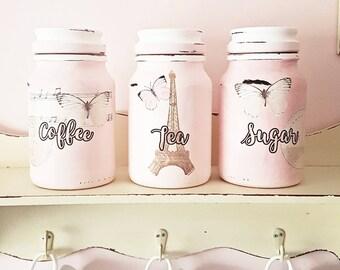 Genial Tea Coffee Sugar Jars, Kitchen Canisters, Kitchen Storage, Pink Kitchen  Decor, Paris Jars, Gift For New Home, Paris Decor, Paris Gift, Pink