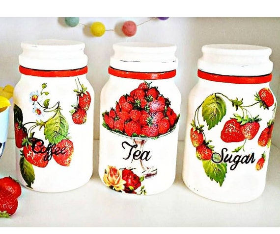 Coffee tea sugar jars, kitcjen canister sets, strawberry jars, red kitchen  decor, red kitchen cannisters, country cottage decor, strawberry