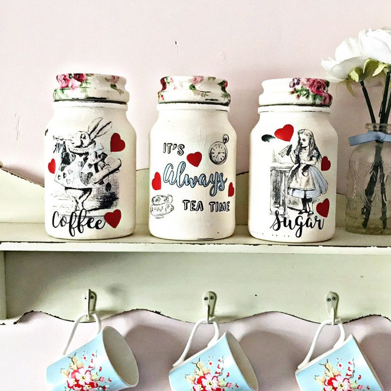 Alice in Wonderland kitchen canisters, tea coffee sugar jars, Alice decor,  its always tea time, kitchen storage, storage jars, Alice gift