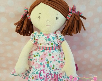 Personalised beautiful rag doll. perfect gift for birthdays, wedding gifts, flower girls , personalised doll , baby gift , soft doll