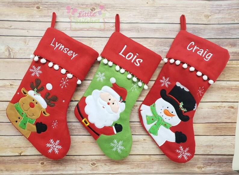 Personalised Christmas Stocking Santa Reindeer Snowman Personalsied Christmas Christmas Decoration Xmas Stocking Christmas Eve