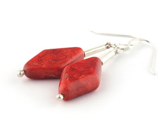 Red coral earrings silver, Coral earrings, Red Silver earrings, Gemstone earrings, Red stone earrings, Red coral jewelry, Red drop earrings