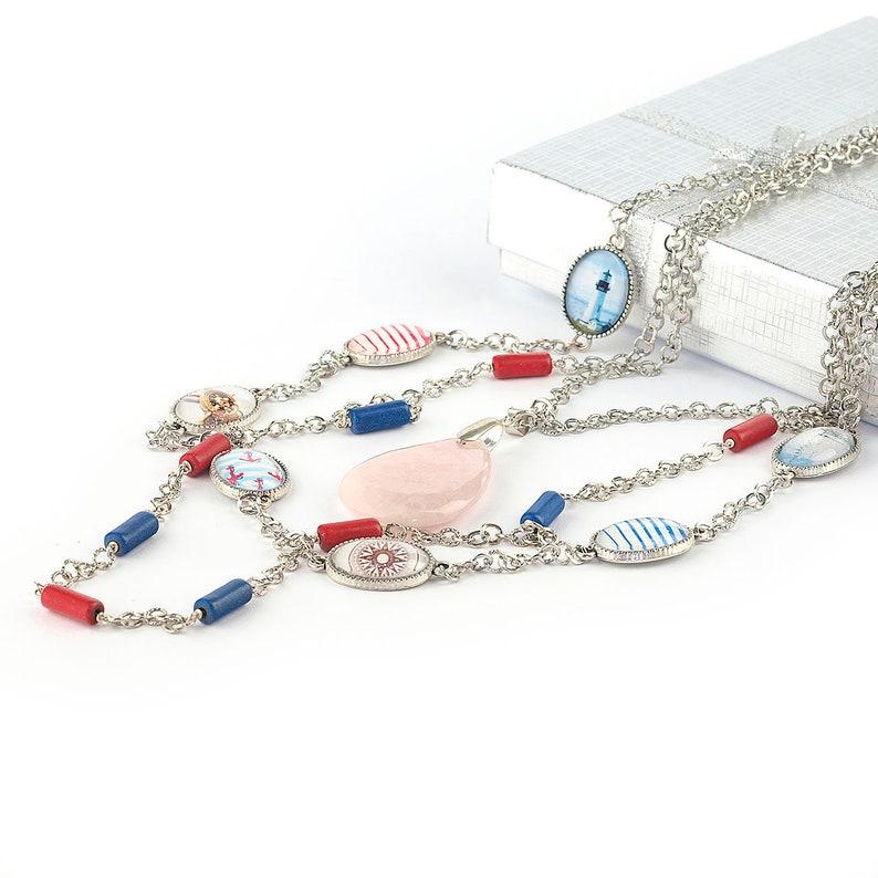 3842ed5b26d7 Collar cuarzo rosa Collar turquesa Collar rojo azul Collar