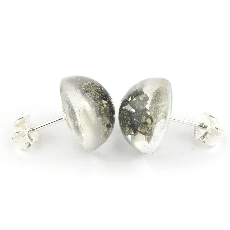 Gift for her Pyrite studs earrings Raw pyrite stud earrings embedded in resin epoxy and sterling silver button shaped Pyrite jewelry