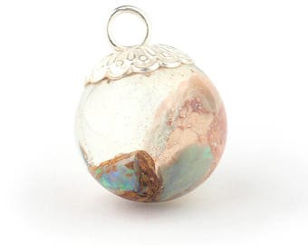 Opal mineral and resin pendant, Opal and resin sphere pendant, Resin globe pendant, mineral and resin jewelry, silver pendant, Opal pendant