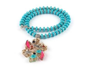 Turquoise necklace, Blue necklace, Blue pendant necklace, Resin pendant flower-shaped, Boho blue necklace, Turquoise jewelry, Boho jewelry,