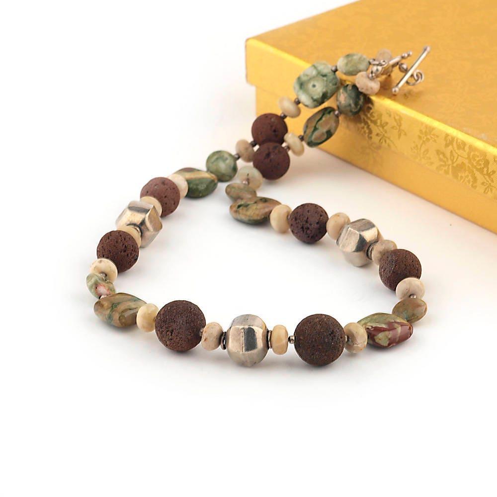 Rhyolith Halskette Silber Halskette braune Lava Halskette