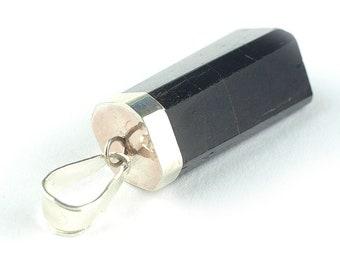 Black tourmaline pendant, Tourmaline pendant, Black pendant, Tourmaline Chrystal pendant, Silver pendant, Tourmaline jewelry, black jewelry