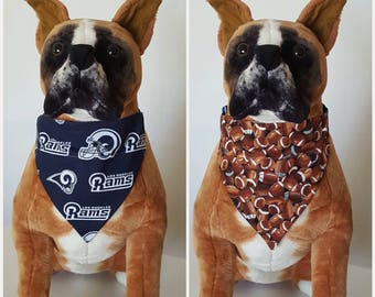 d5ae6ebe799 Reversible Bandana, Made With NFL Los Angeles Rams Fabric, Football Bandana  Scarf Cat Dog Pet Slip On Over The Collar 2 in one