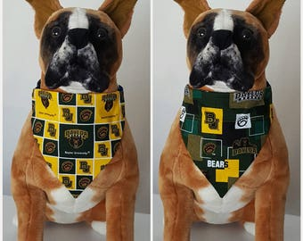 129198b7fc7 Reversible Bandana, Made With Baylor University Fabric, Texas, Bears,  Scarf, Dog, Cat, Pet, Slip On Over The Collar, 2 in one