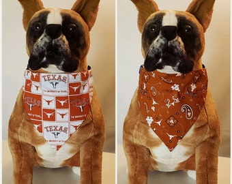 785711c6403 Reversible Bandana, Made With University of Texas Fabric, Longhorns, Scarf,  Dog, Cat, Pet, Slip On Over The Collar, 2 in one