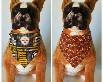 5d12cce495c Reversible Bandana, Made With NFL Pittsburgh Steelers Fabric, Football,  Patchwork,Scarf Cat Dog Pet Slip On Over The Collar 2 in one