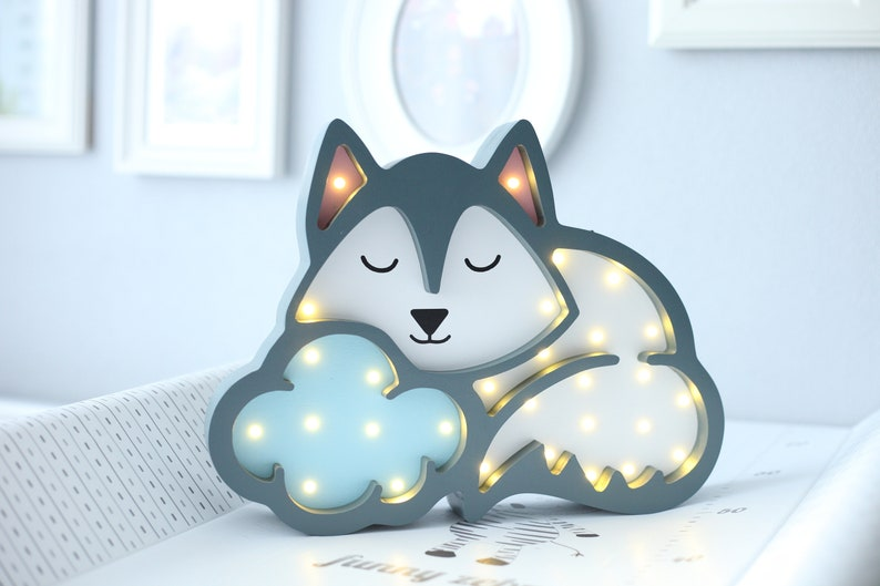 ff0abfd59f Baby night light sleeping wolf led lamp for kids room nursery | Etsy