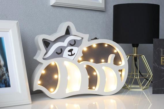 Baby Night Light Raccoon Art Led Lamp For Kids Room Nursery   Etsy