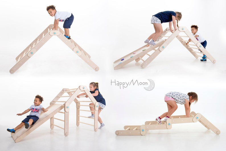 Transformable Pikler triangle Climber HappyMoon Minimalist Toddler Toys.
