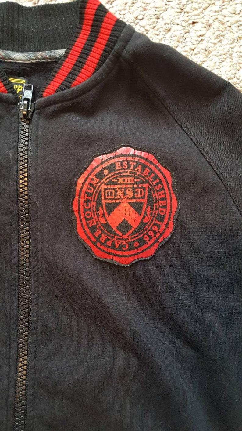 Seize the Night FREE SHIPPING in usa  Never Sleep Varsity Collegiate style zip up sweatshirt  Carpe Noctum Size XL