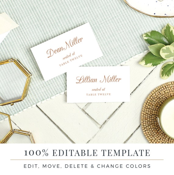 Wedding Place Card Template Printable Escort Cards Pretty