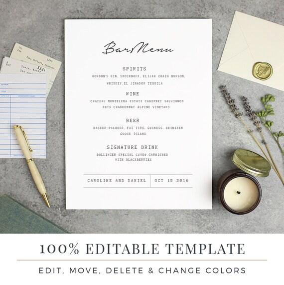 Hochzeit-Bar Menüvorlage editierbare Bar Menü druckbare Wort