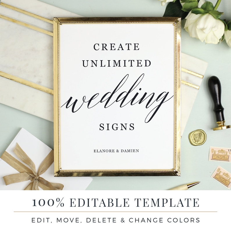 Wedding Sign Template Editable Sign Favor Sign Guestbook image 0