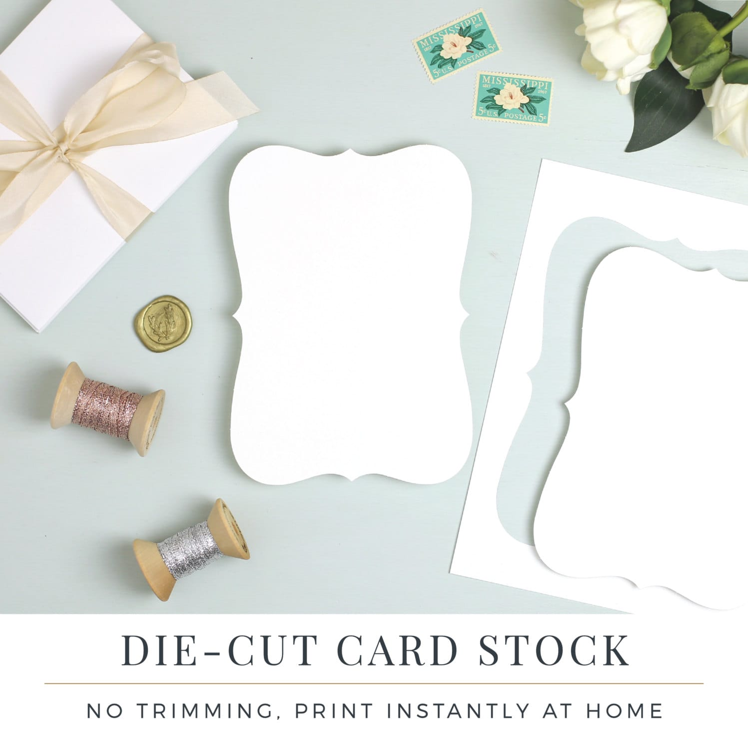Perforated Bracket Shape Card Stock Die Cut for Wedding