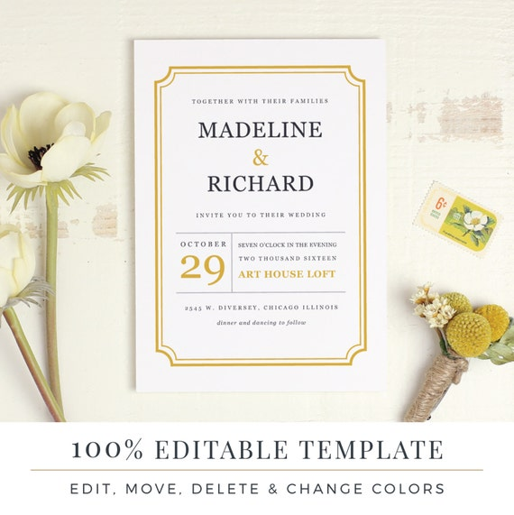 printable wedding invitation template word or pages mac or etsy