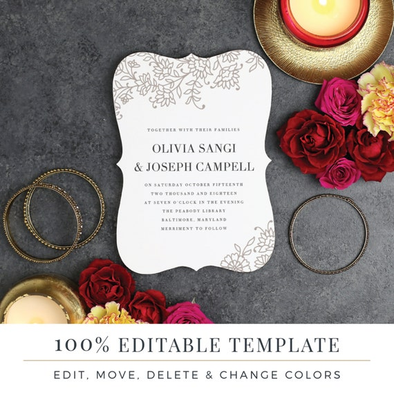 Printable Wedding Invitation Template Indian Block Print Etsy