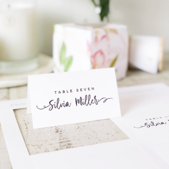 graphic relating to Printable Escort Cards named Informal Script Room Card Template, Printable Escort Playing cards, Innovative Calligraphy, Phrase or Internet pages, Mac or Computer, Fast Obtain