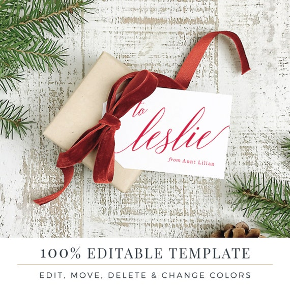 Christmas Gift Tag Template.Holiday Gift Tag Template Printable Hang Tags Word Or Pages Mac Or Pc Modern Christmas Instant Download