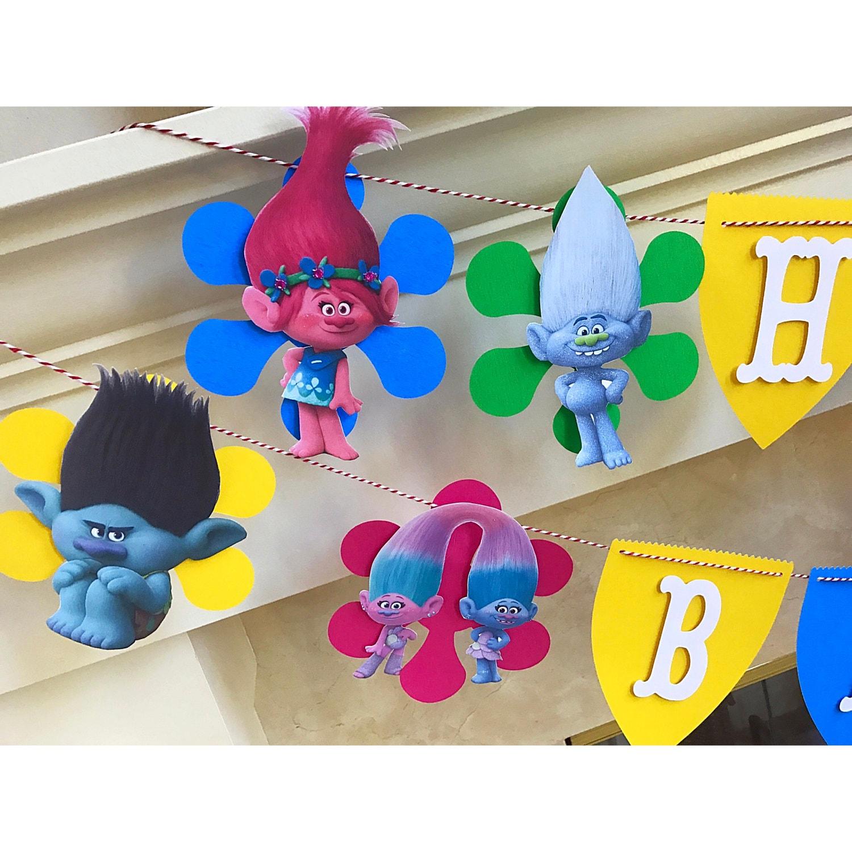 TROLLS Birthday Banner Trolls Theme Party Decorations
