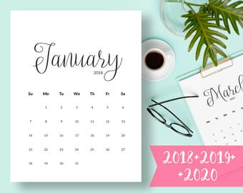 Calendar PRINTABLE 2018 Calendar 2018 Desk Calendar PDF Calendar Instant Download Calendar Pages Monthly Calendar Wall Calendar Printable