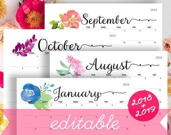 Printable Calendar 2018 Etsy