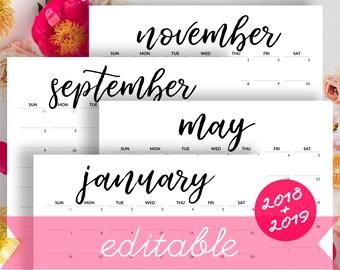 EDITABLE Calendar 2018-2019 Printable Calendar to Type In 2018 Desk Calendar Minimalist Calendar with Birthdays Monthly Calendar for Fridge