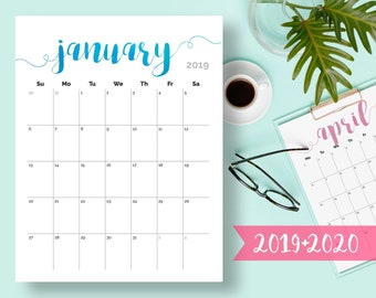 Printable Calendar 2019 2020 2018 Desk Calendar Pdf Download Etsy