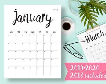 printable calendar 2019 2020 2018 desk calendar pdf download planner 2019 calendar pages digital monthly 2019 2020 calendar printable 2019